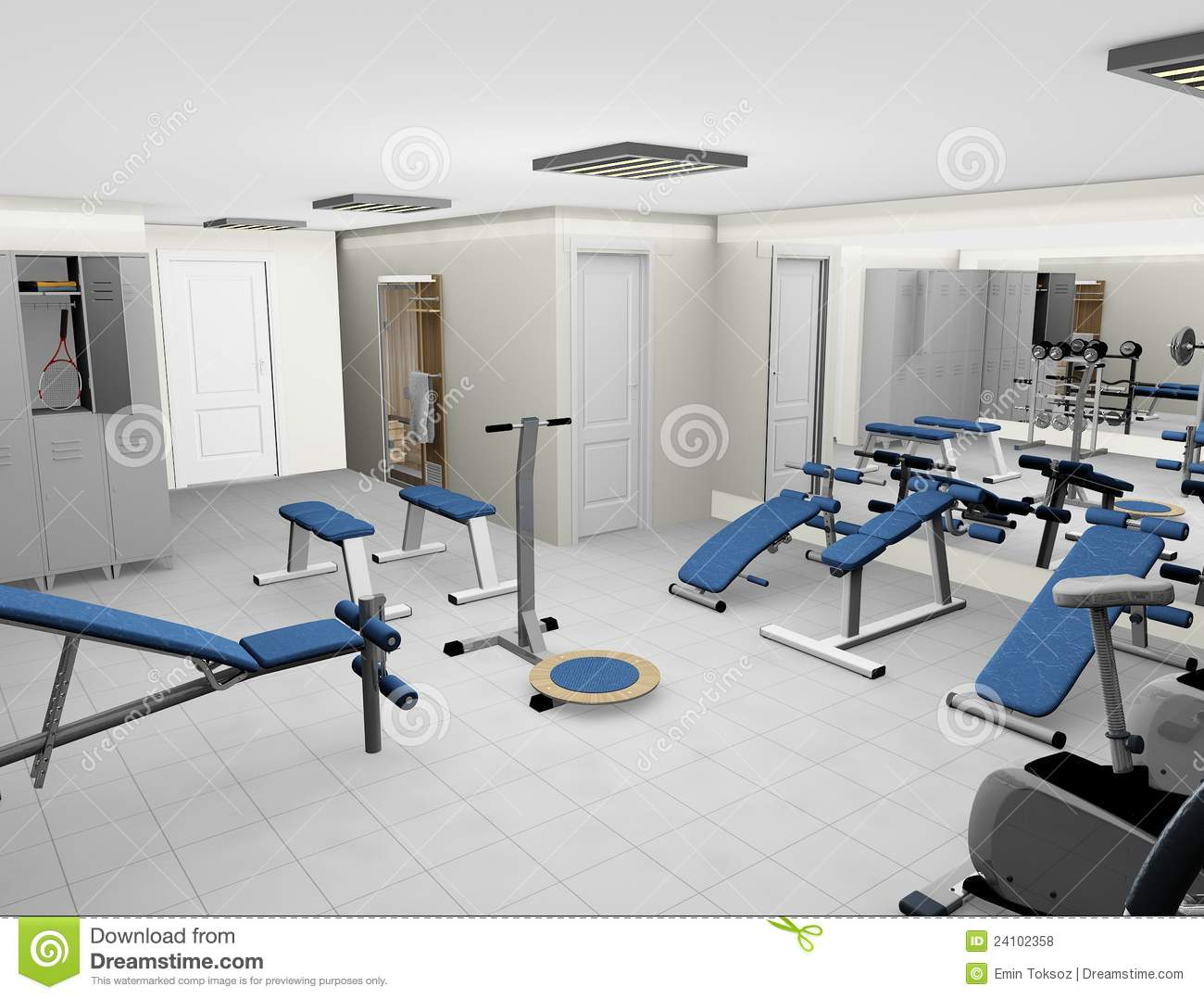 Modern d fitness room stock illustration of
