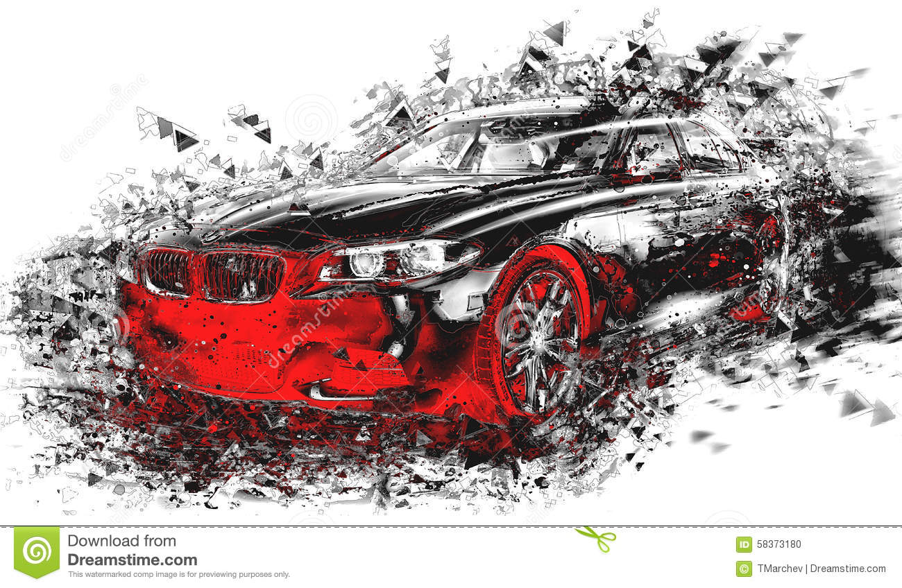 Modern Abstract Car Art. Beautiful Modern Abstract Car Art Design Stock  Photo