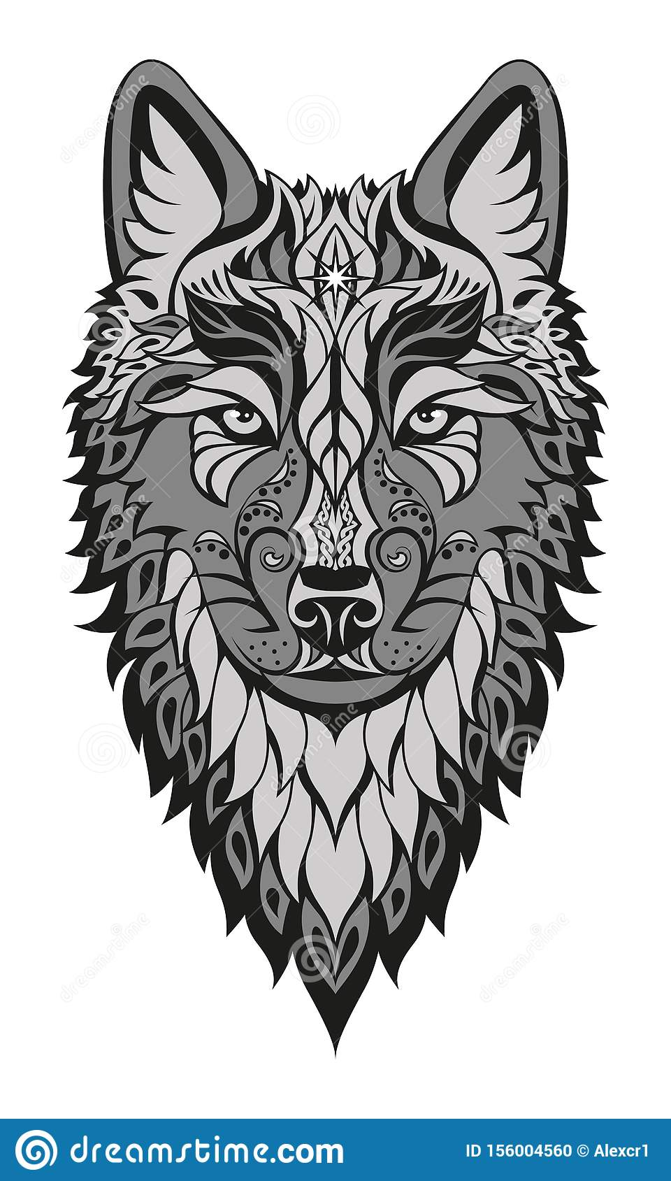 Modern Abstract Character Wolf Head Drawing On White