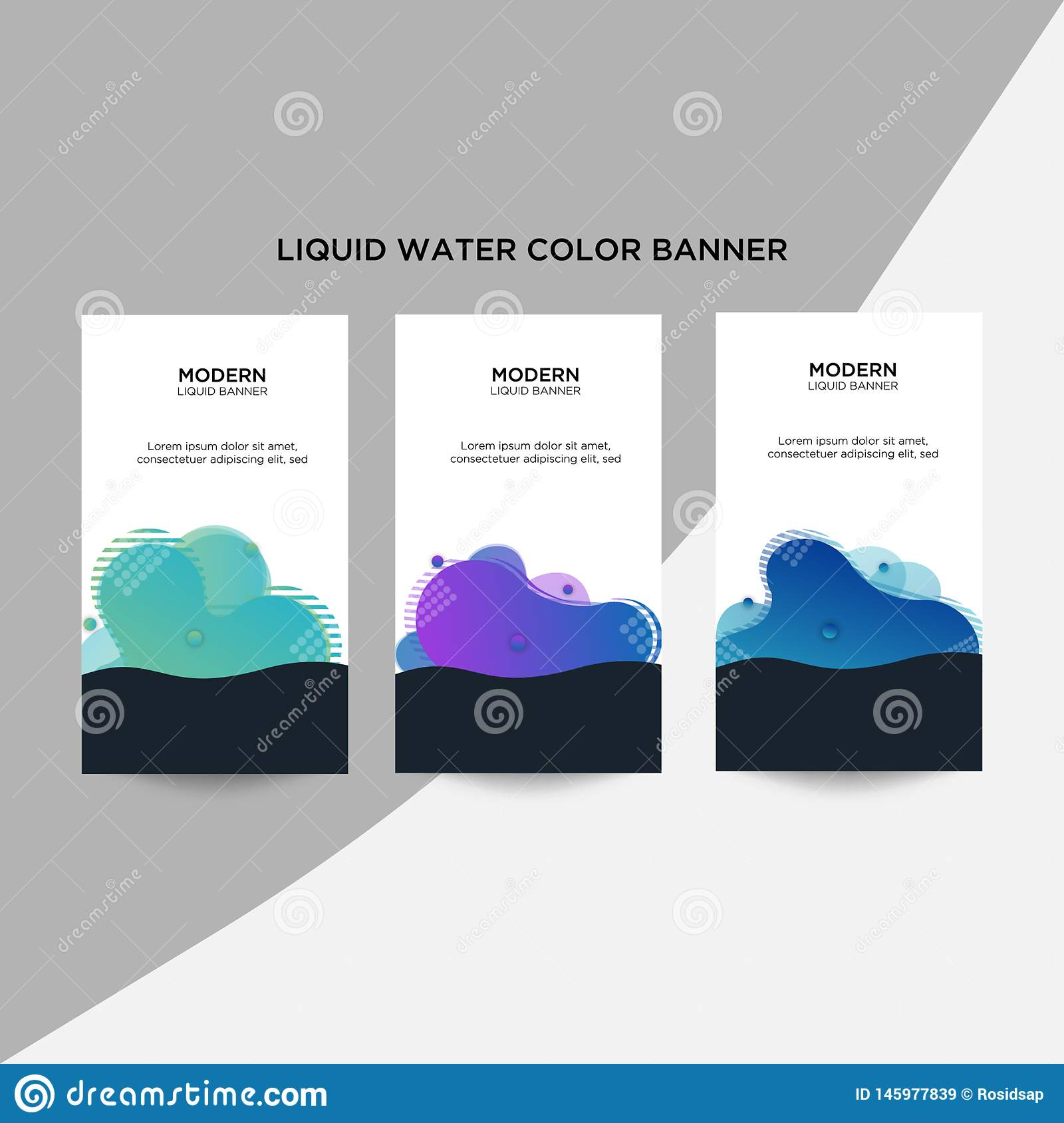 Modern abstract color business banners are arranged in a halftone style