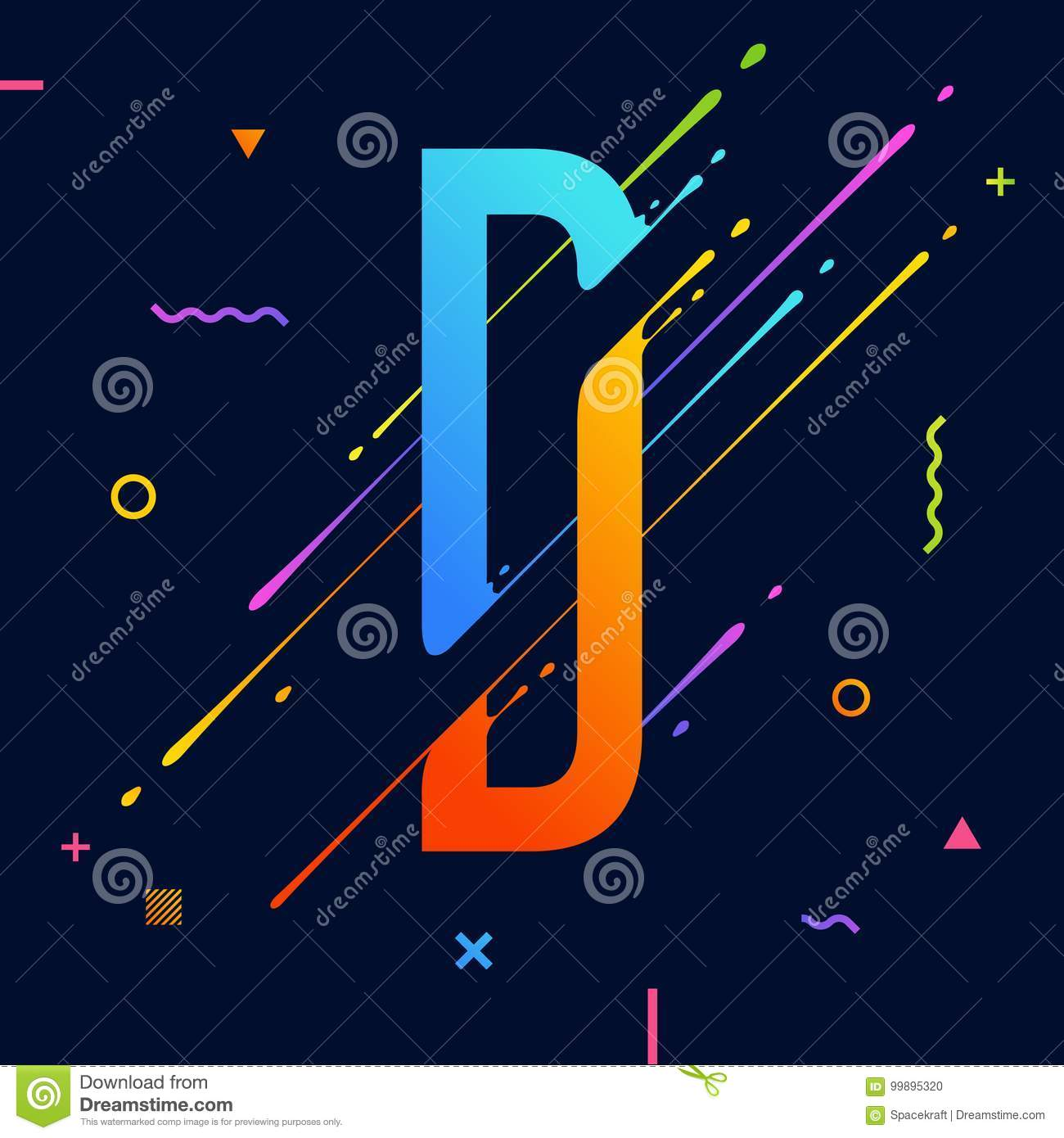 Modern Abstract Colorful Alphabet With Minimal Design Letter D