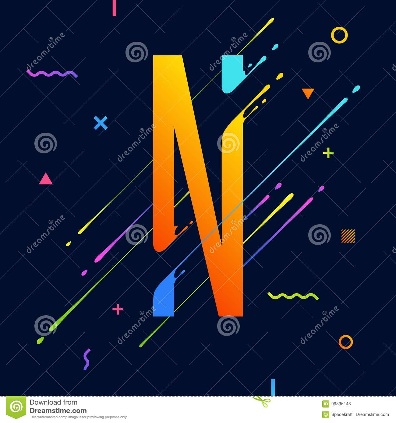 Modern Abstract Colorful Alphabet With Minimal Design. Letter N