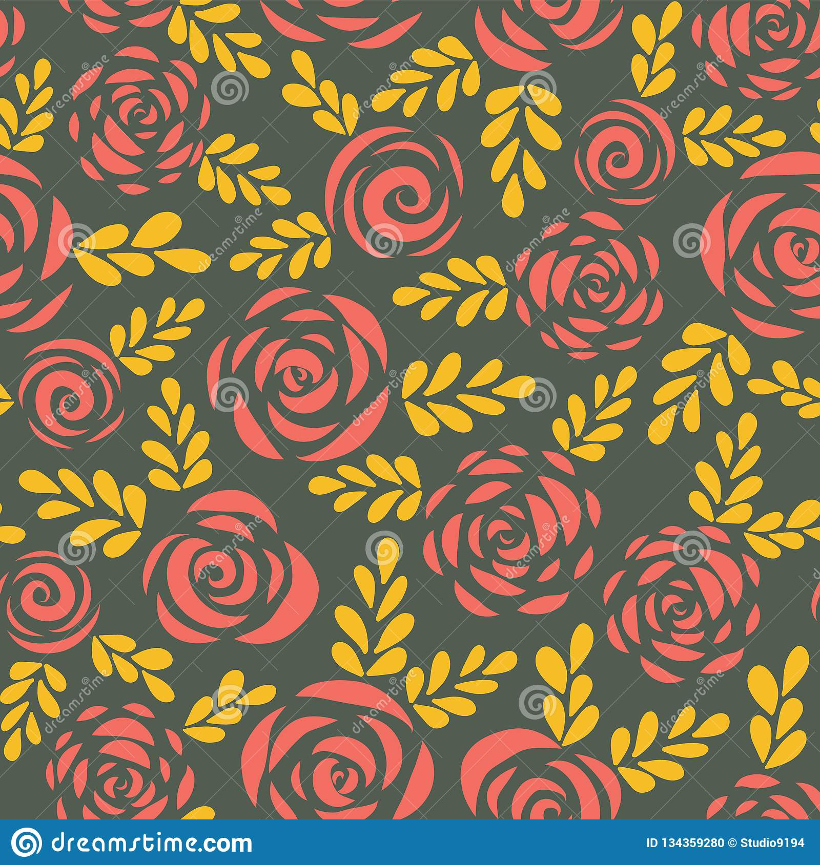 Modern abstract flat roses and leaves red gold seamless vector background . Floral silhouettes. Flower pattern for Valentines,
