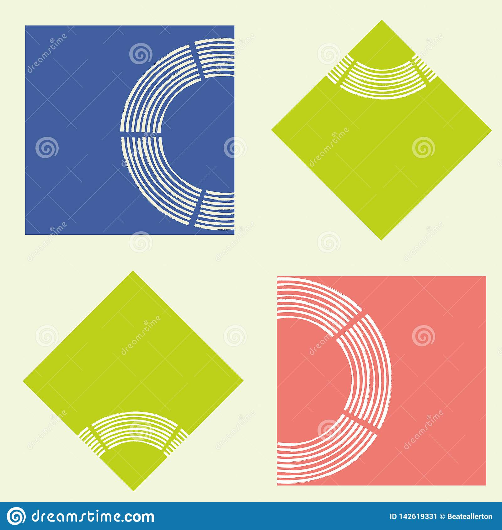 Modern abstract lime, coral and blue squares with brush semi circle texture. Seamless geometric vector pattern on light