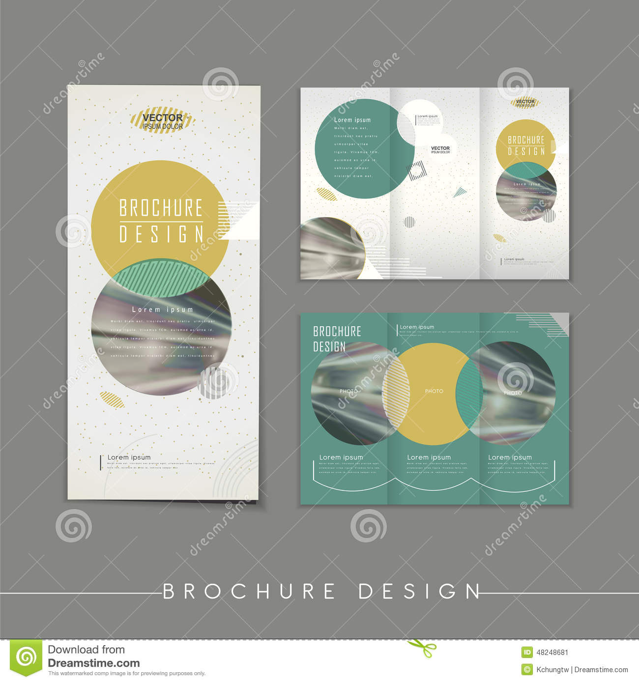 Modern abstract tri fold brochure template design stock for Modern brochure design templates