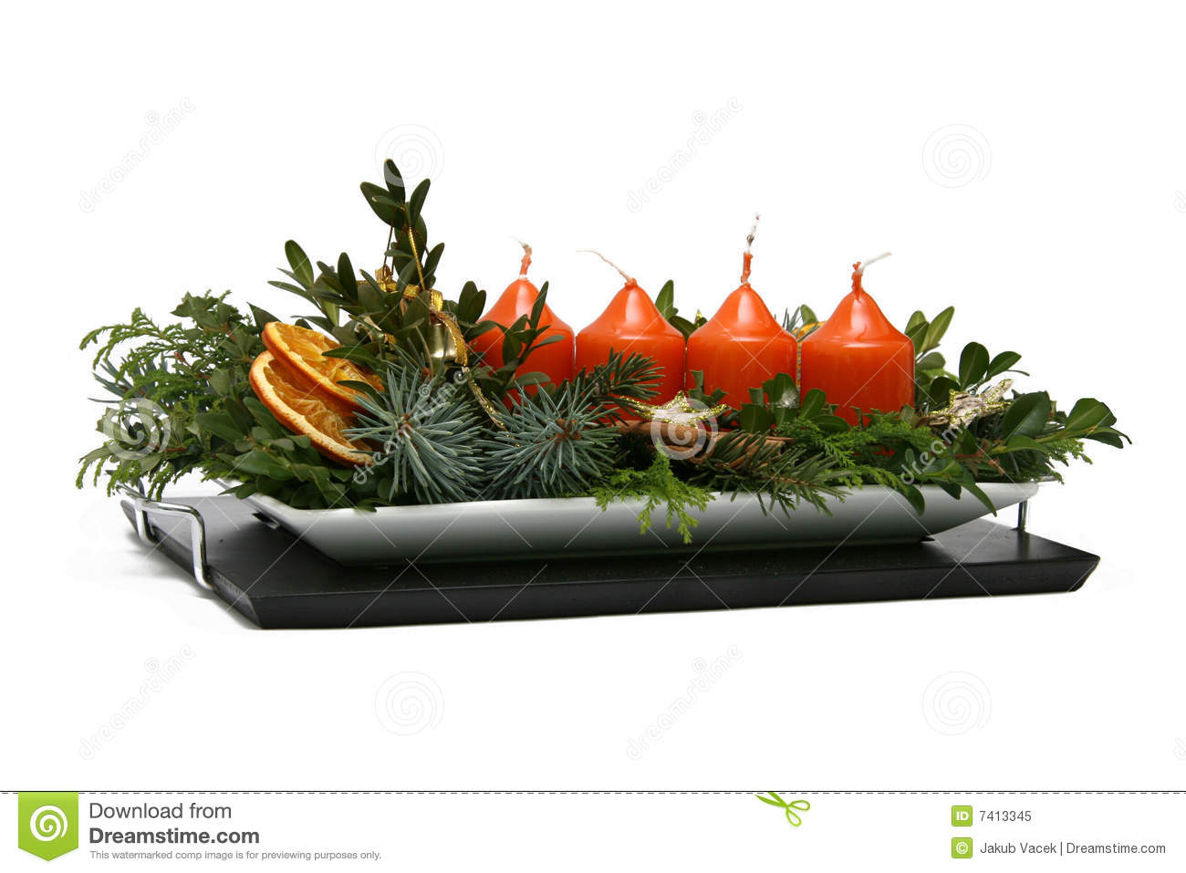 Modern advent wreaths, with four candles, needles, dried oranges and ...