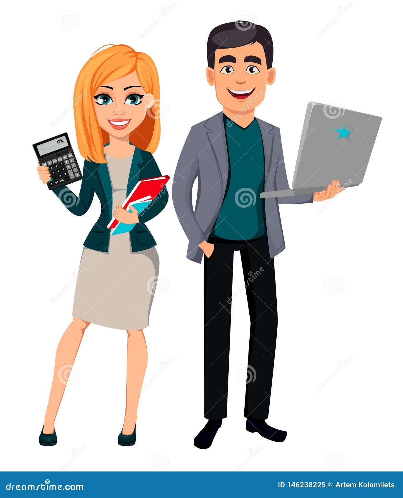 Modern affärsman och affärskvinna