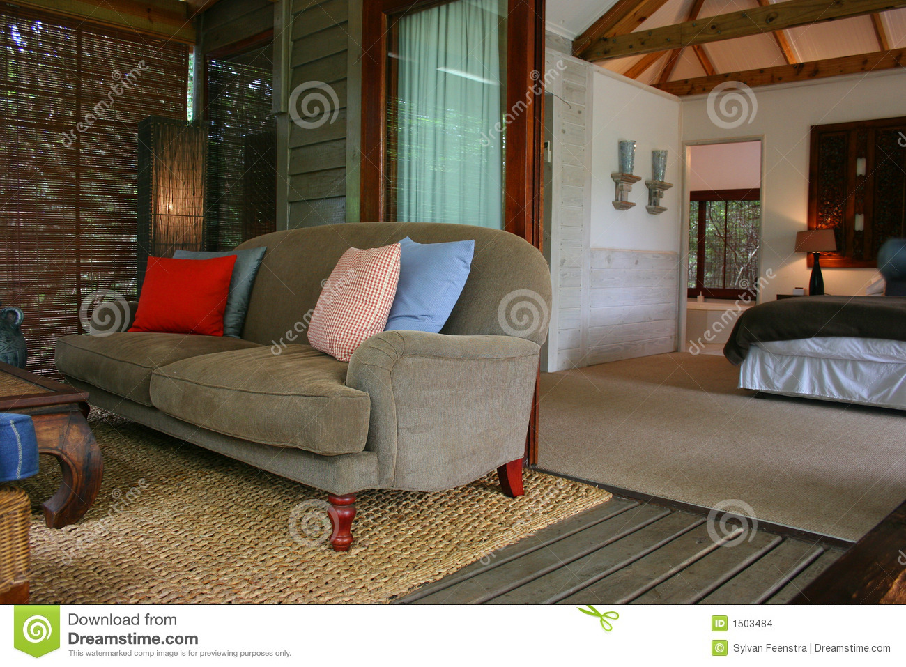 Modern African Interior Bedroom With Verandah Stock Photo