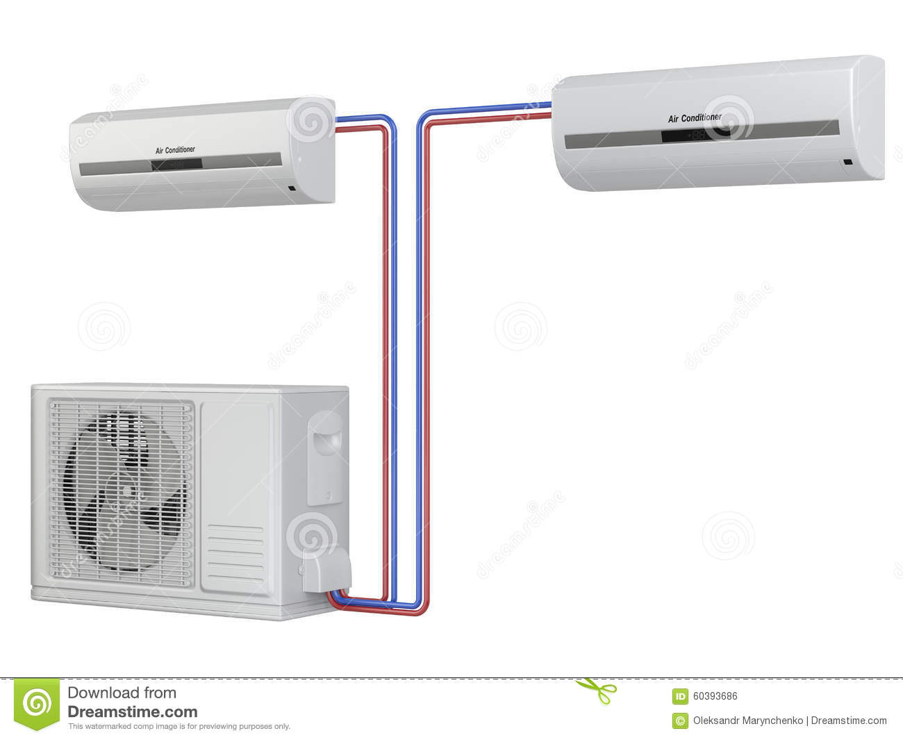 Illustration: Modern air conditioner system. Installation of equipment #82A328