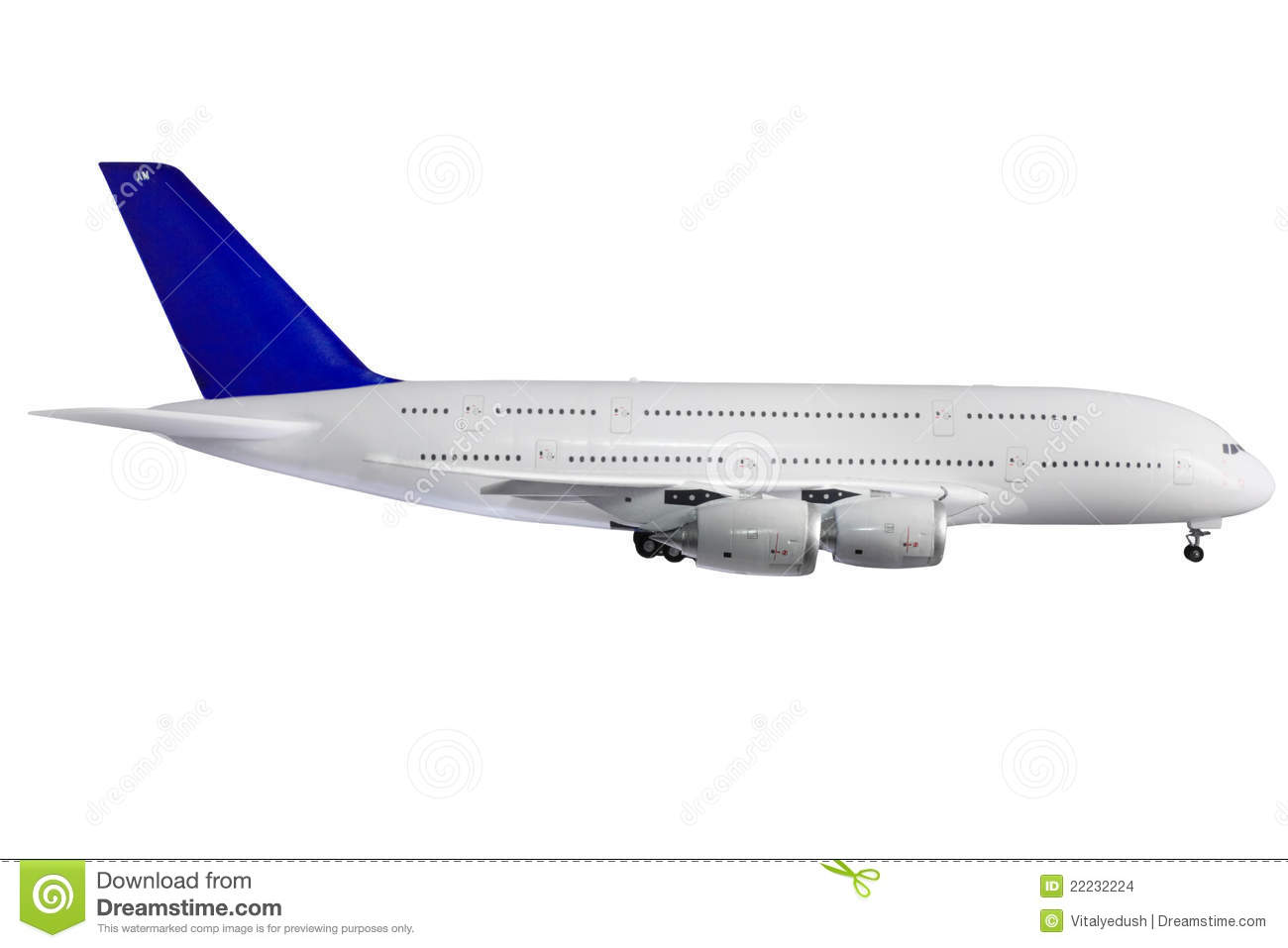 Modern Airplane On White. Stock Images - Image: 22232224