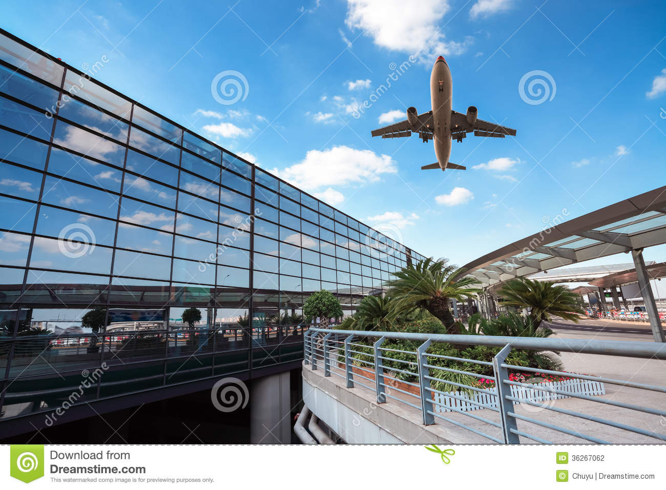 Modern Airport Terminal And Aircraft Stock Photo Image