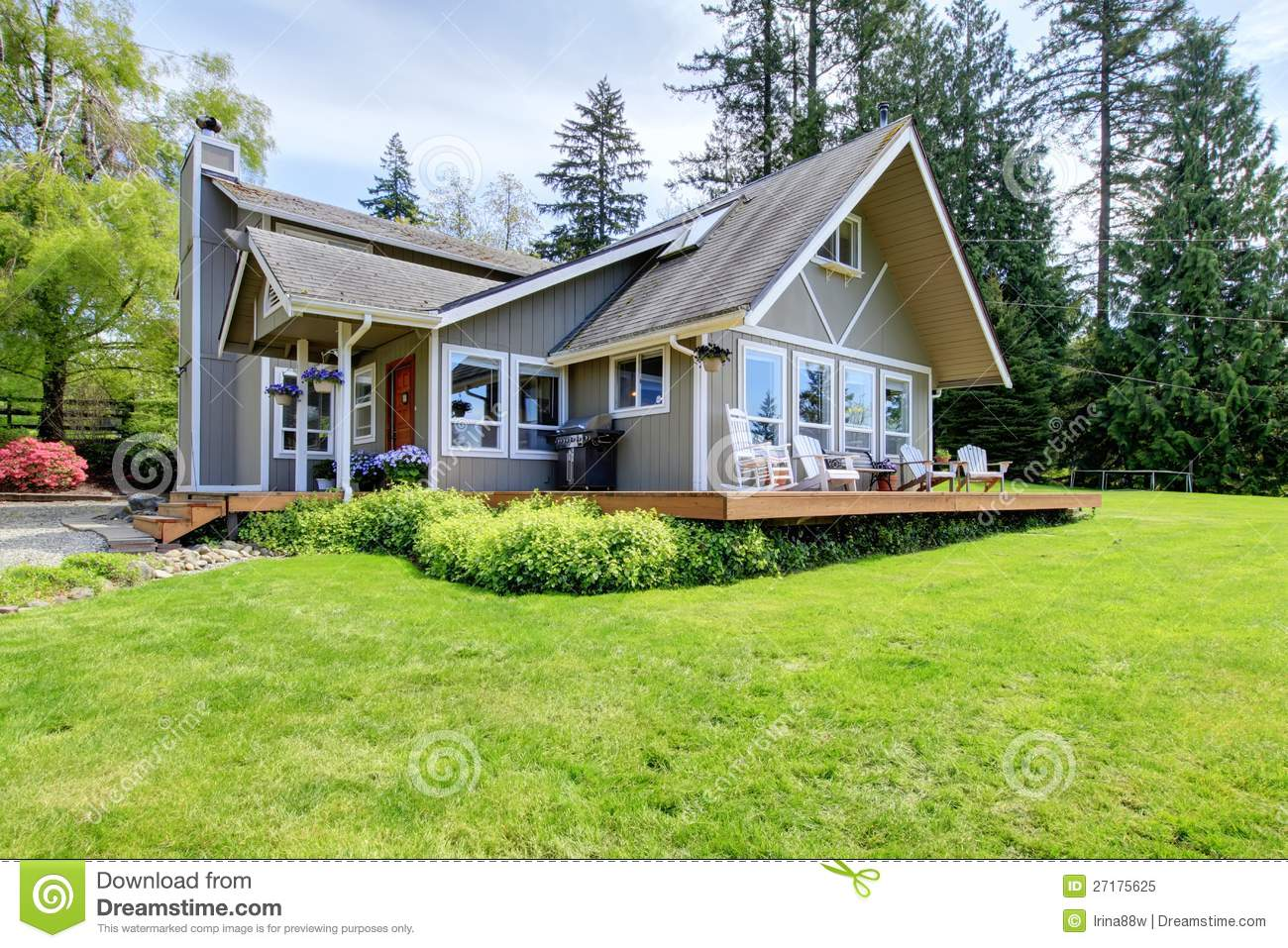 Modern American farm house with spring landscape.