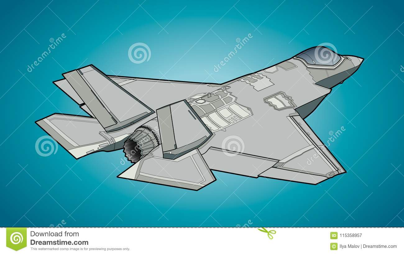 Modern American Jet Fighter Aircraft Stock Illustration