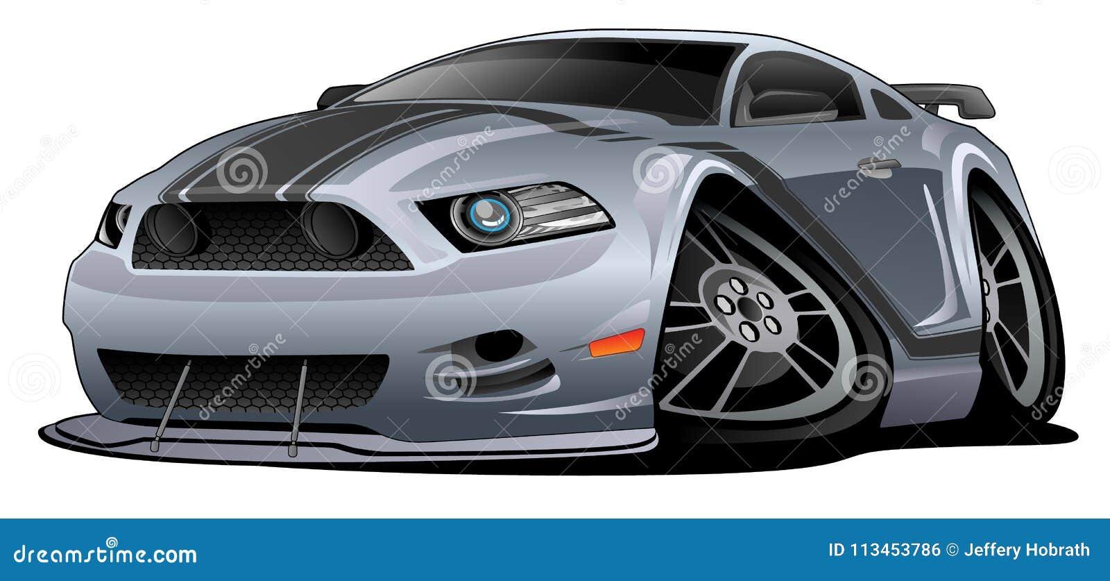 Modern American Muscle Car Cartoon Vector Illustration Stock Vector