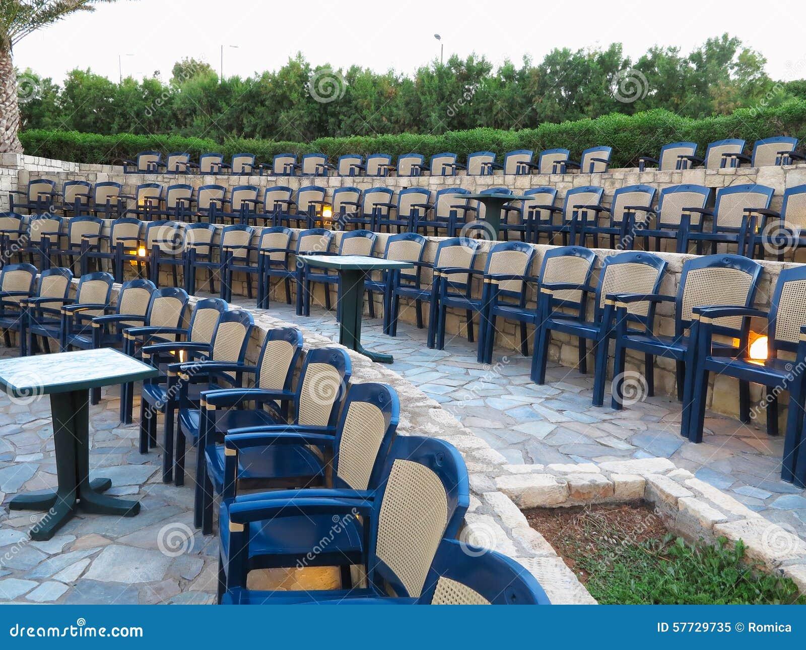 Terrific Modern Amphitheater Plastic Chairs And Palm Trees In Greece Frankydiablos Diy Chair Ideas Frankydiabloscom