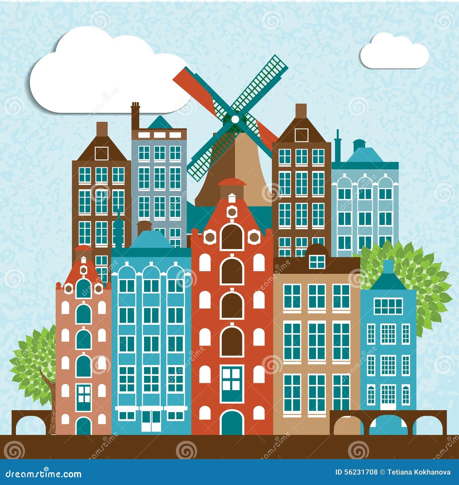 Modern amsterdam city skyline design stock vector image for Design amsterdam