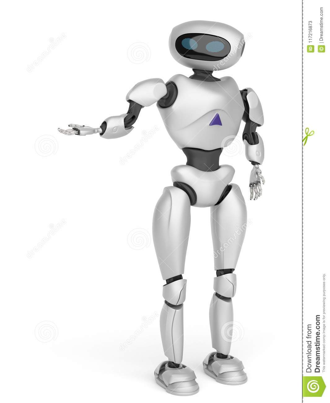 Modern android robot on a white background. 3D rendering.