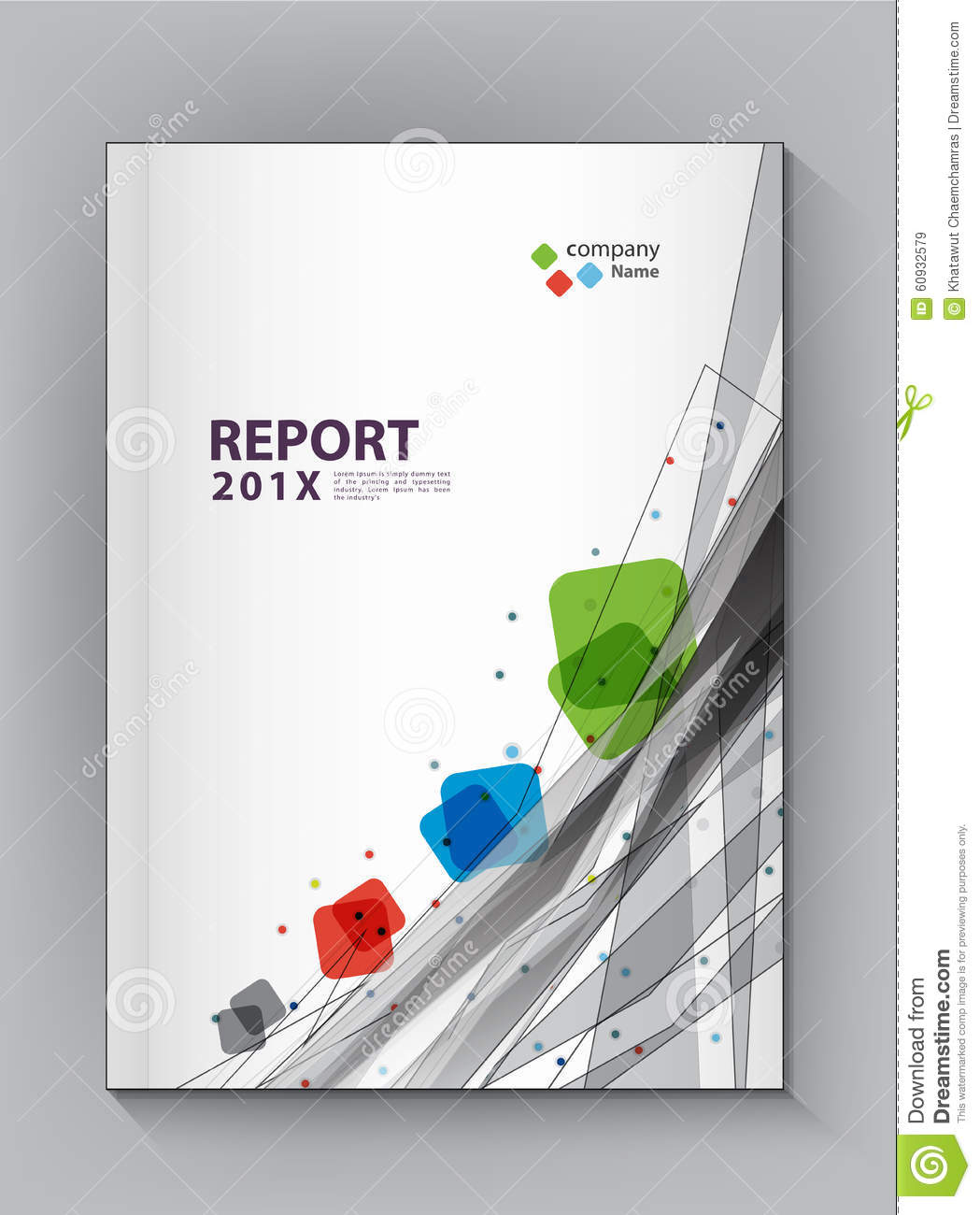 Modern Annual Report Cover Design Vector Dot Technology Stock