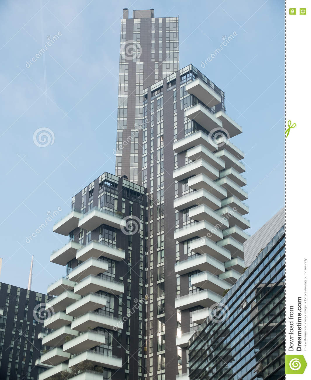 Apartment View: Modern Apartment Building With Balconies In City Stock