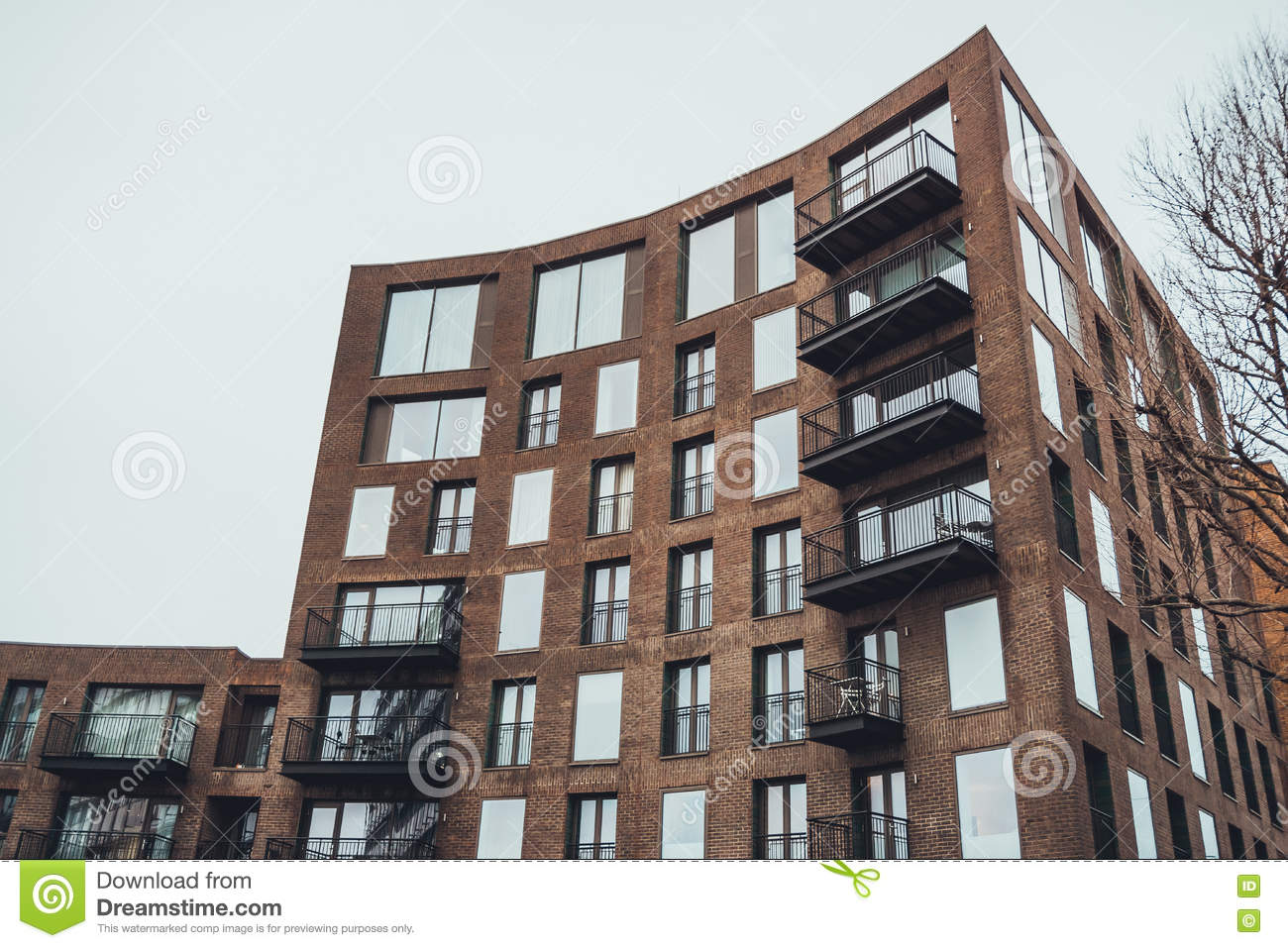 Modern Apartment Building With Curved Facade Stock Photo Image