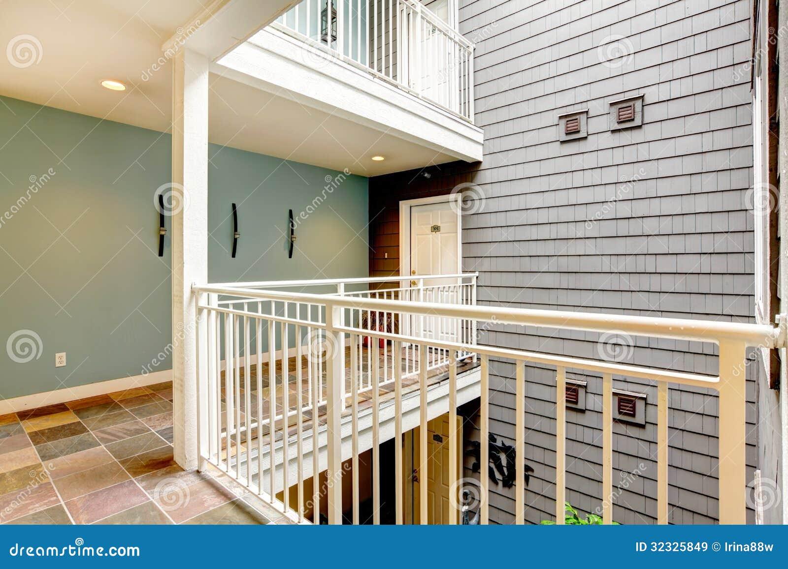 Simple Apartment Building Hallway Blue Door Paris Pinterest