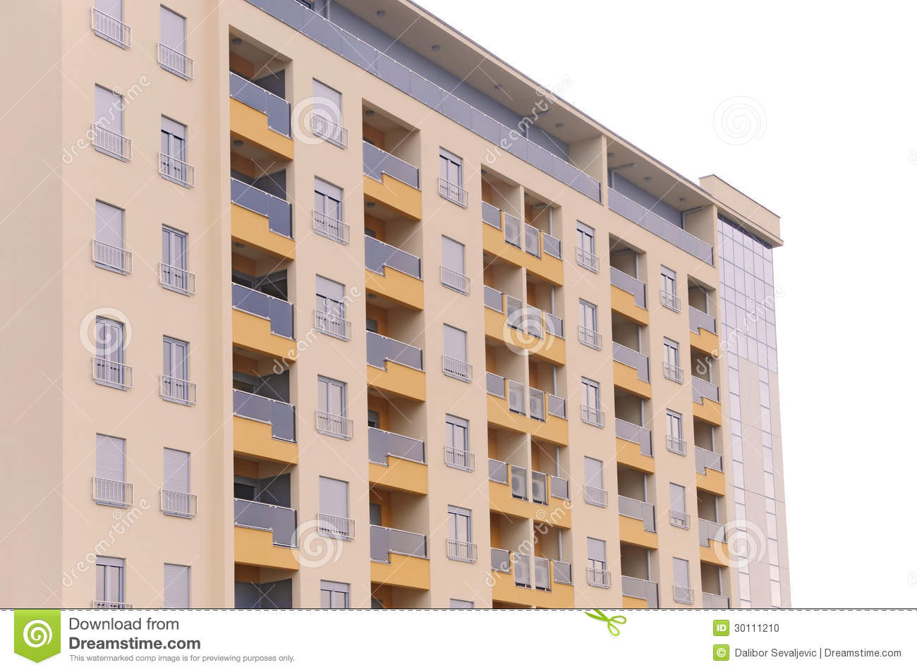 Modern Residential Building Isolated Stock Photo - Image: 30111210