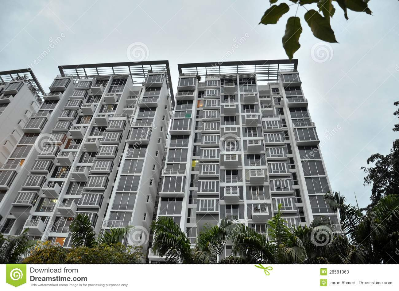Modern apartment building in singapore stock image image for Modern condo building design
