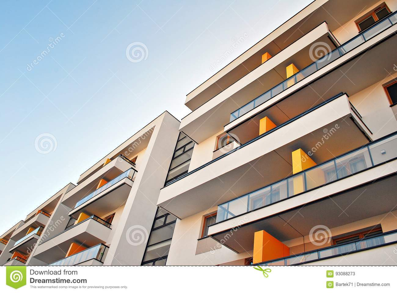 Modern apartment buildings exteriors. Facade of a modern apartment building.