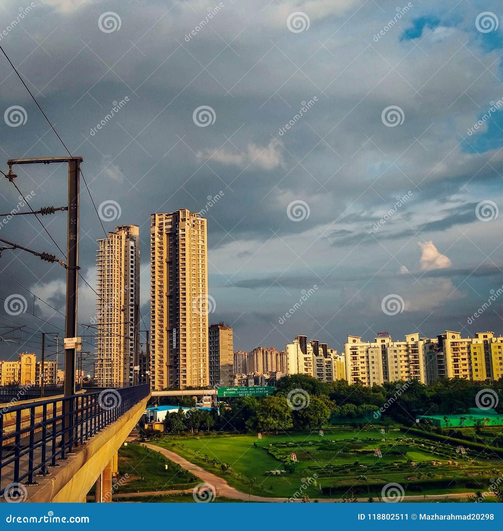 Modern apartment buildings,Noida, India.