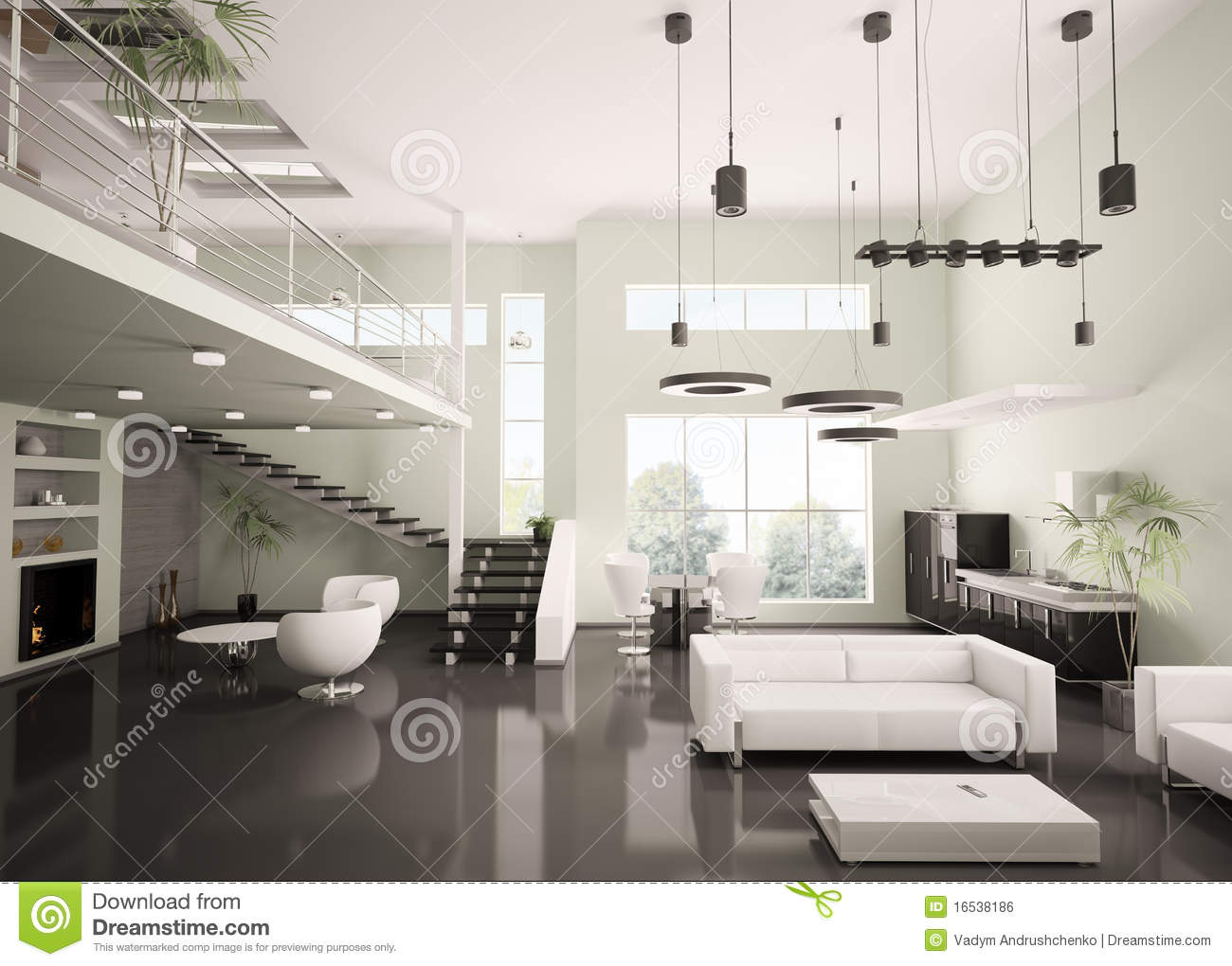 Modern apartment interior 3d render stock illustration for Modern interior