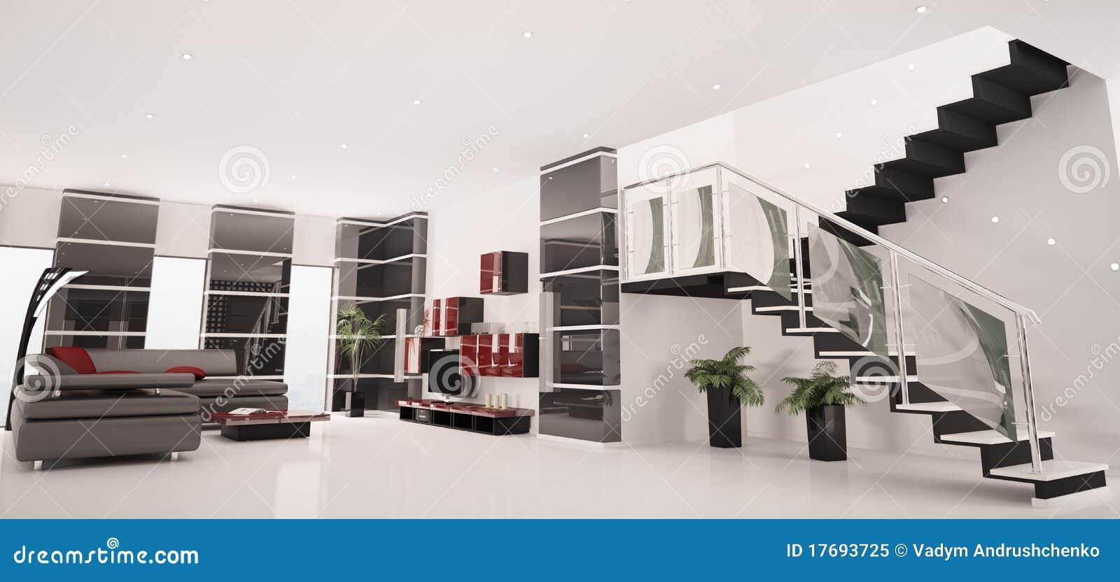 Modern Apartment Interior Panorama 3d Render Stock Illustration ...
