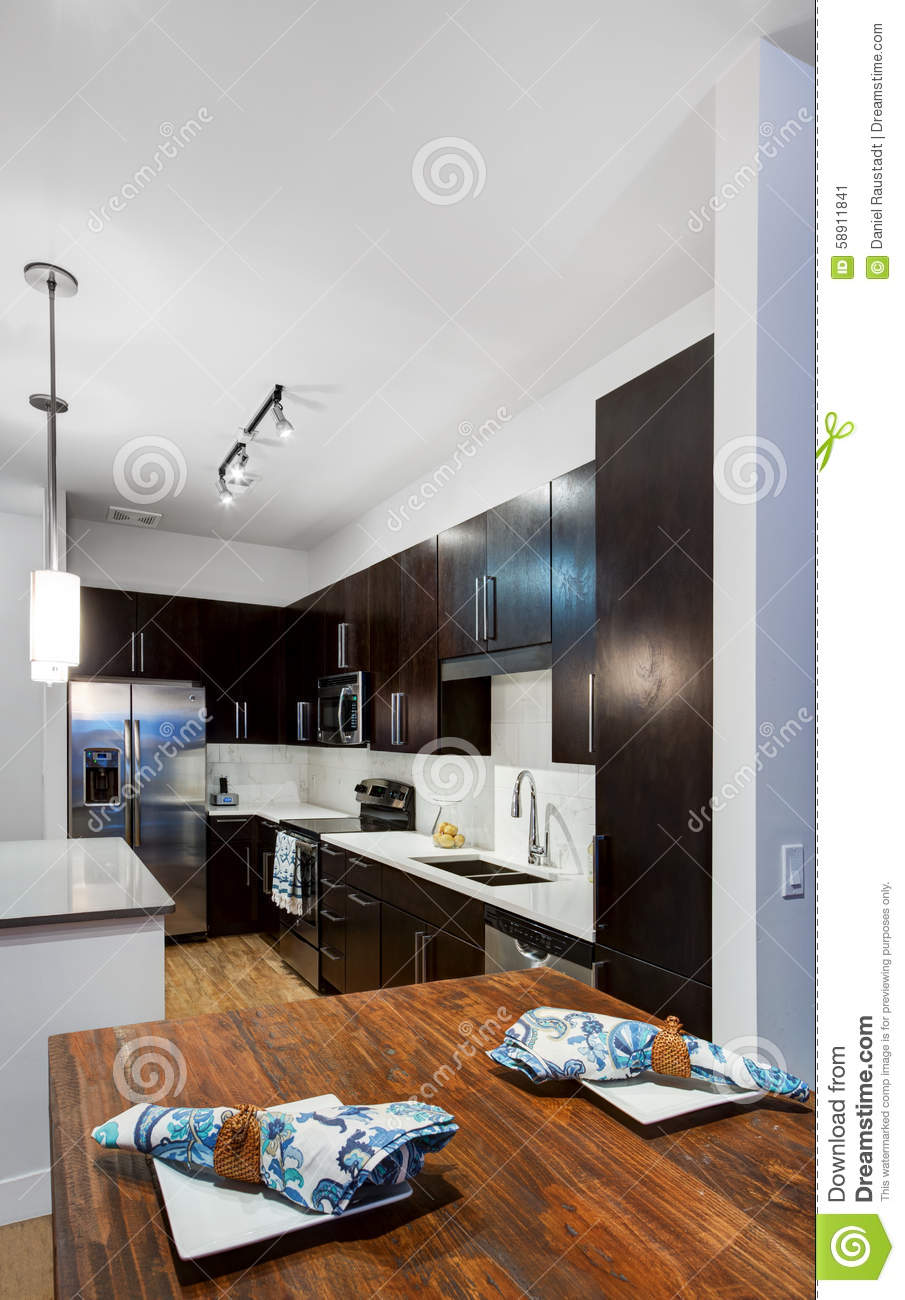 Modern Apartment Kitchen stock image. Image of faucet - 58911841