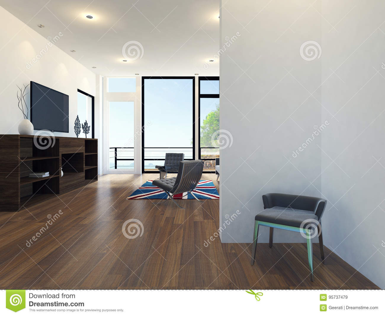 Modern Apartment Living Room Interior With Sea View Stock Illustration Illustration Of Interior Floor 95737479