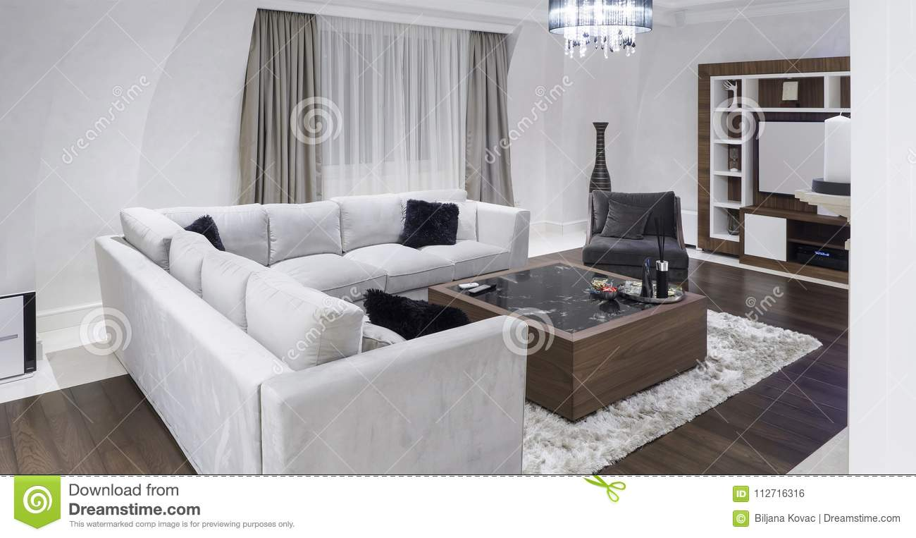 Modern Apartment With Minimalistic Decor Stock Photo - Image of wall ...