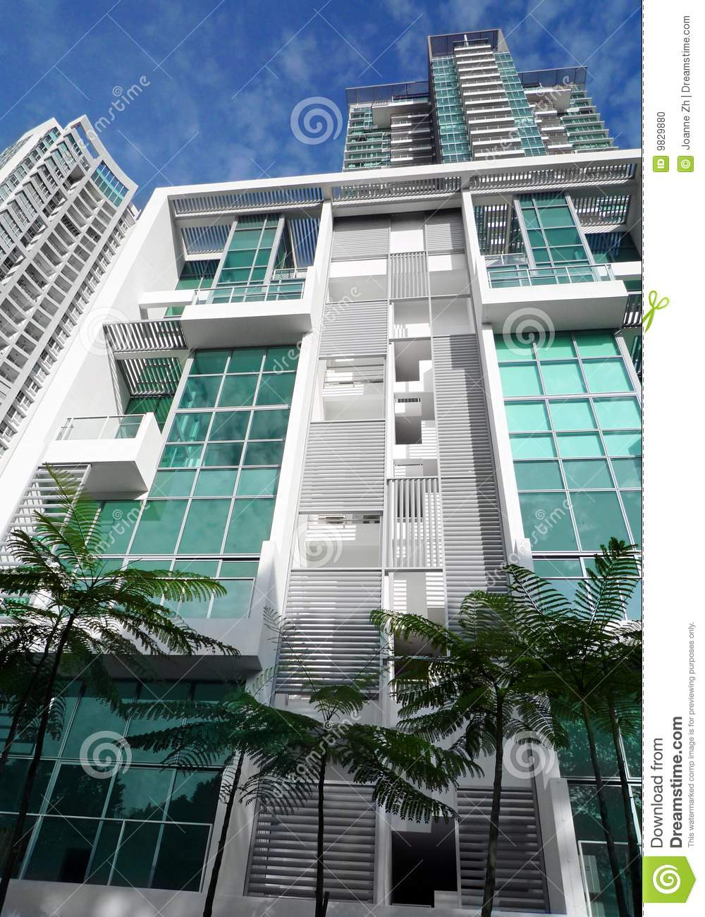 Download Modern Apartment With Trees Stock Photo - Image of exteriors, apartments: 9829880