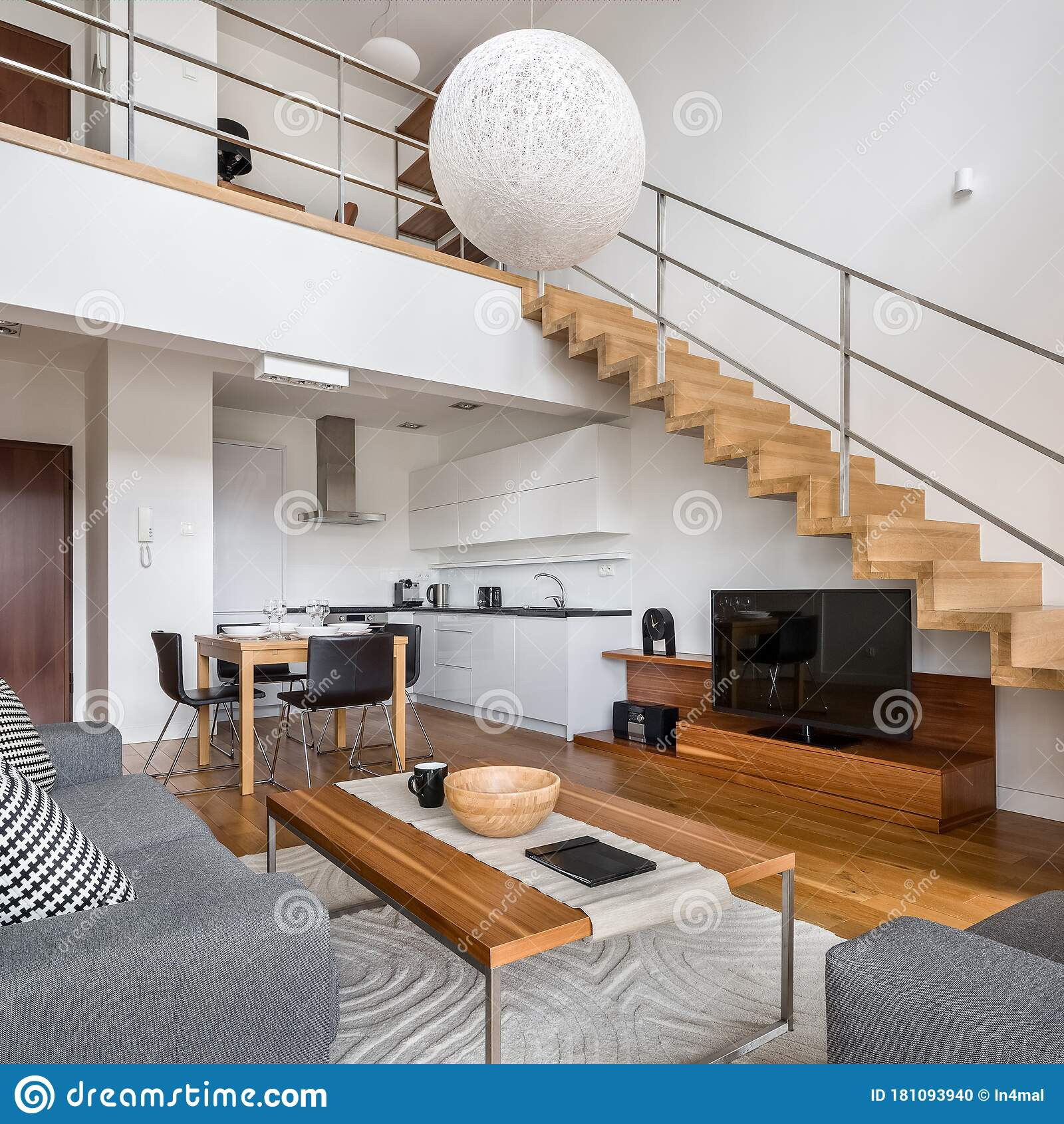 Modern Apartment With Wooden Stairs Stock Photo Image Of Flat Decor 181093940