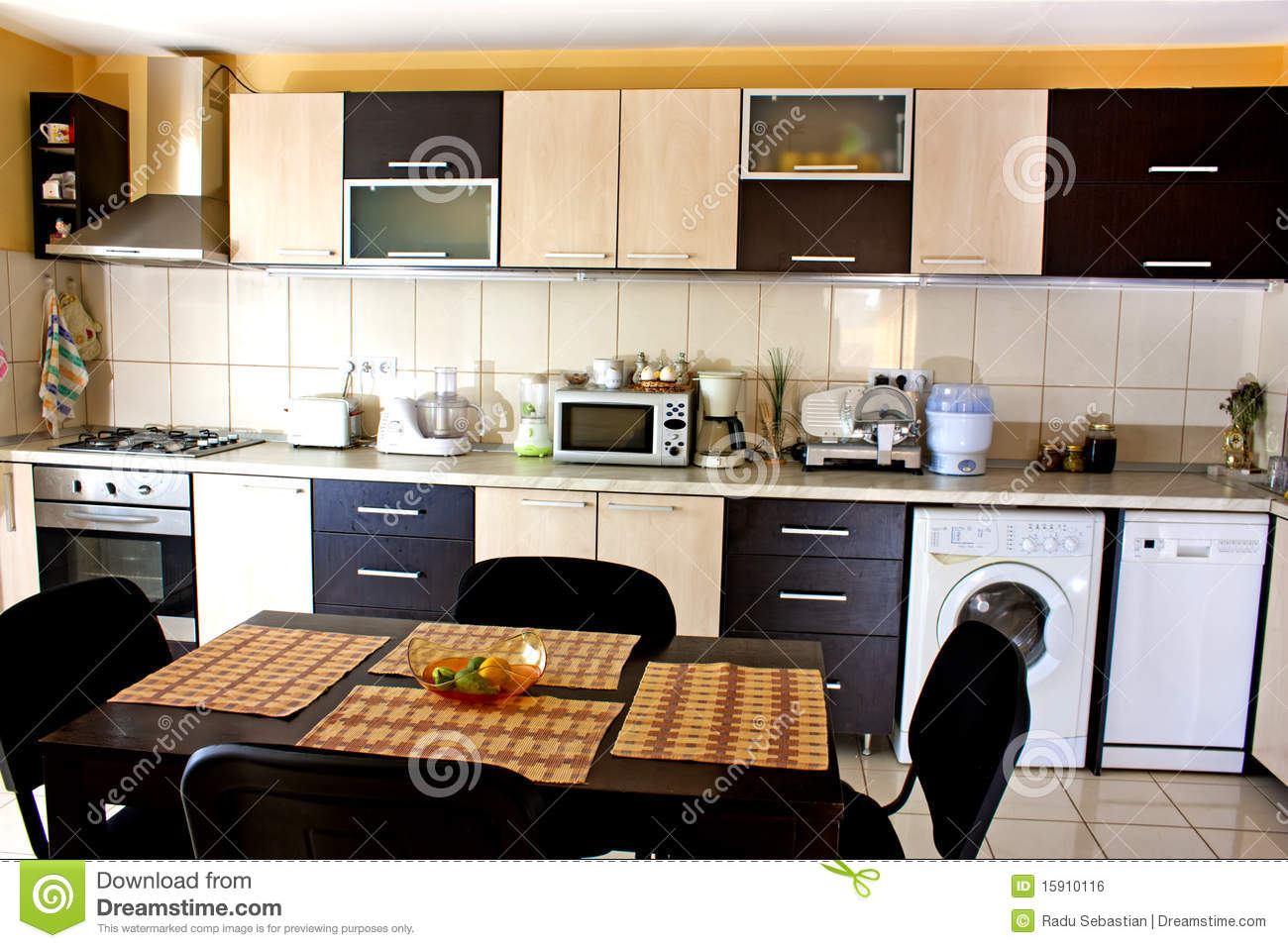 Modern Appliances In The Kitchen Stock Photo - Image of microwave ...