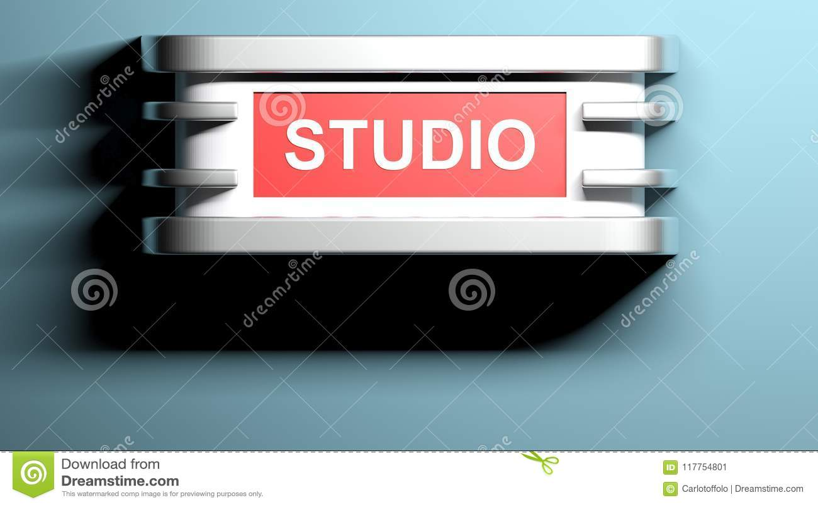 Studio applique lamp at blue wall 3d rendering stock illustration