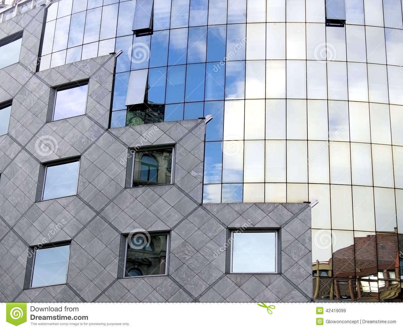 Modern architect curved glass wall facade stock image for Curved glass wall