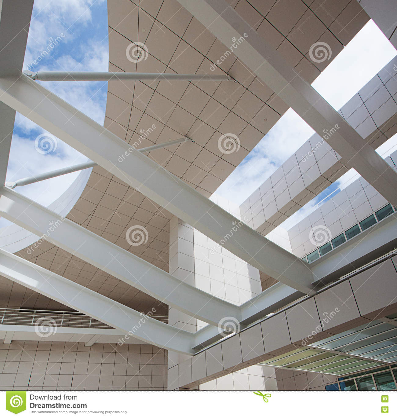 Modern Architectural Features modern architectural features of the getty editorial stock photo