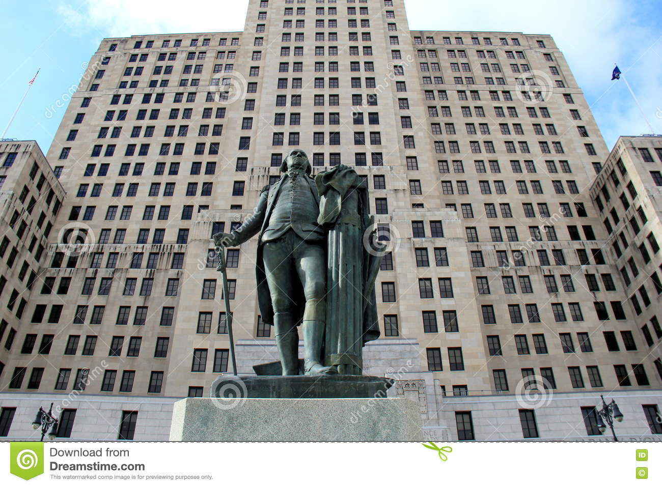 Modern Architecture Of Alfred E Smith Building With Statue In