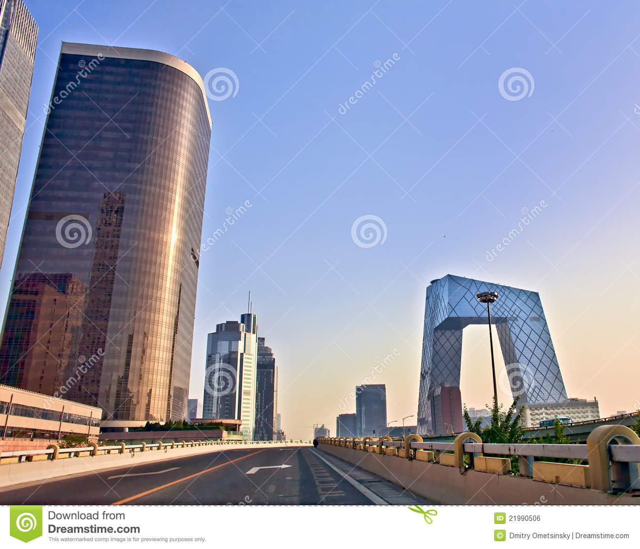 Modern architecture of Beijing at sunrise