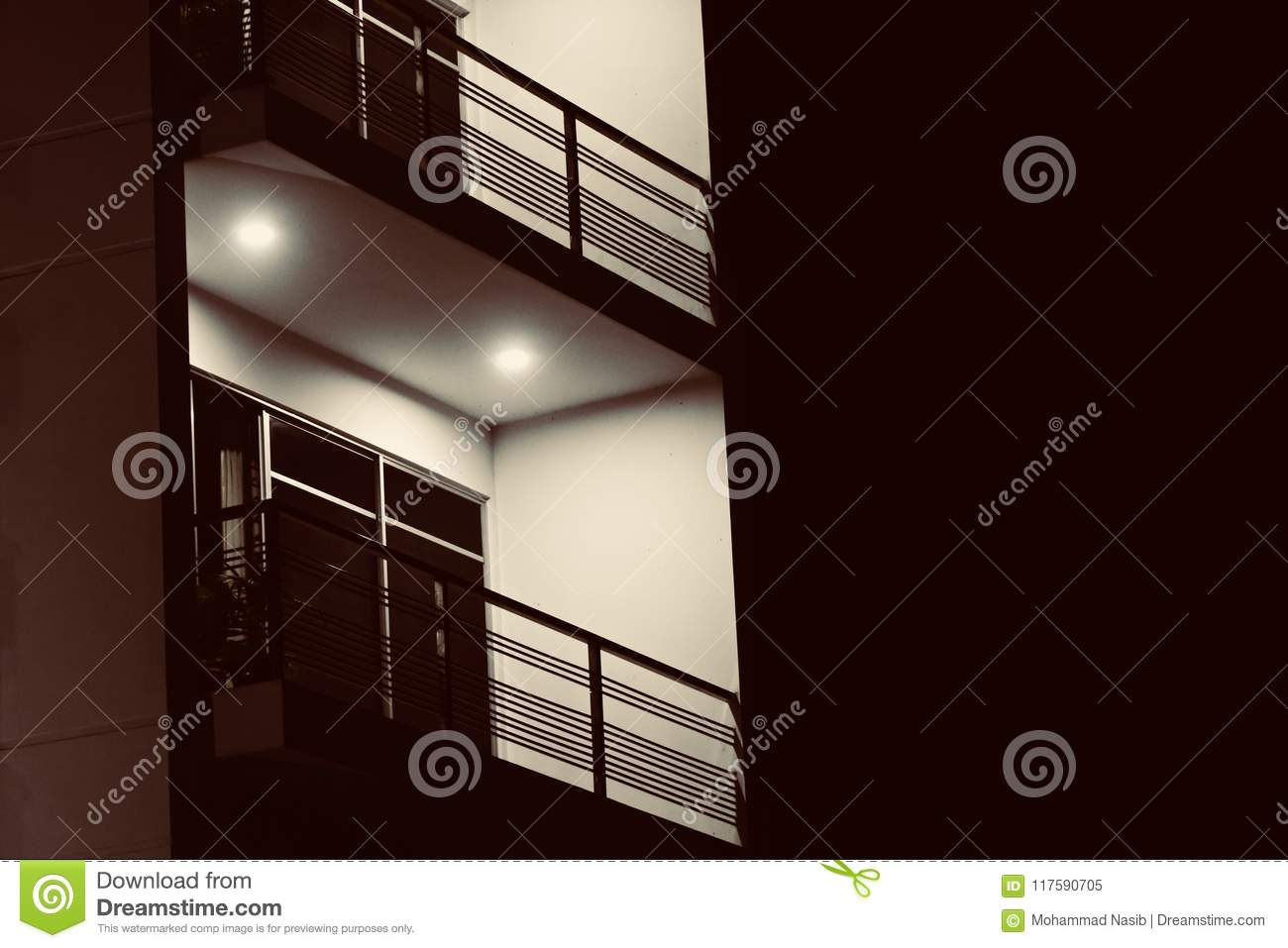 Download A Modern Architecture Building Balcony At Night Unique Photo Stock Image - Image of lighting, asian: 117590705