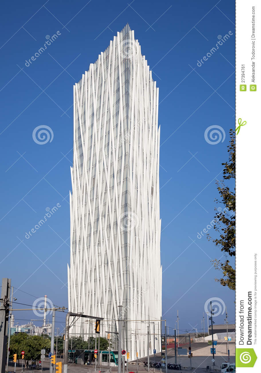 modern architecture building in barcelona stock image