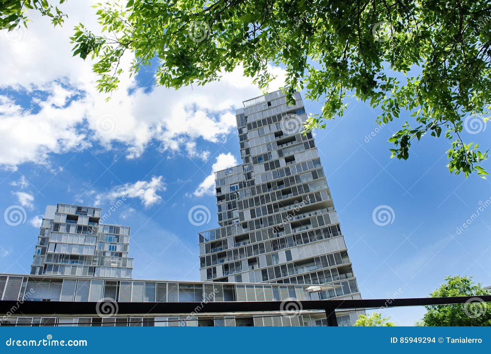 Modern Architecture Barcelona modern architecture building in poblenou district, barcelona stock