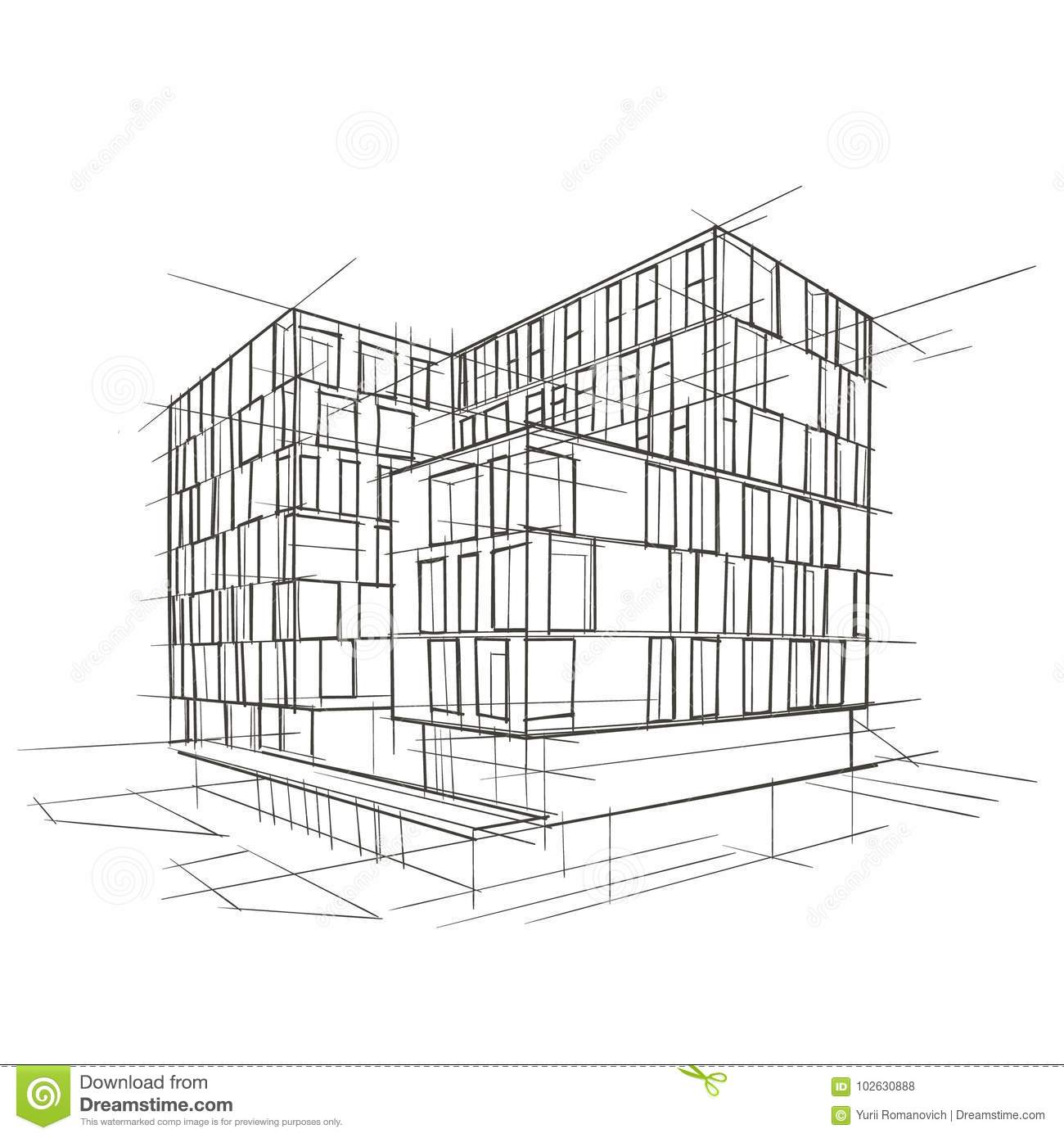 Modern Building Diagram Web About Wiring Telecaster Architecture Drawing Stock Vector Illustration Of Isolated Rh Dreamstime Com Floor Plan Standard