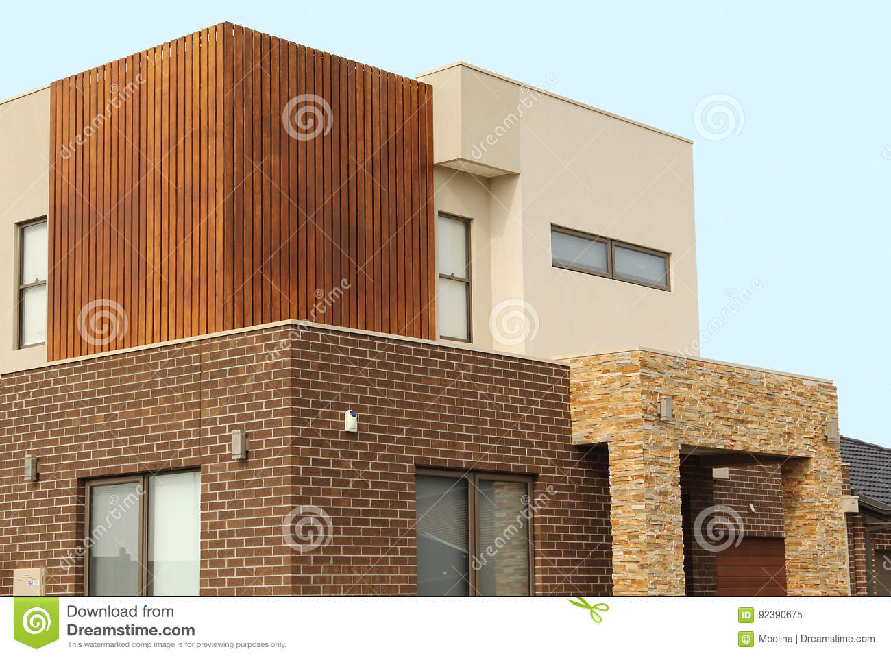 Modern Architecture Exterior Details Double Story Homes Stock Image