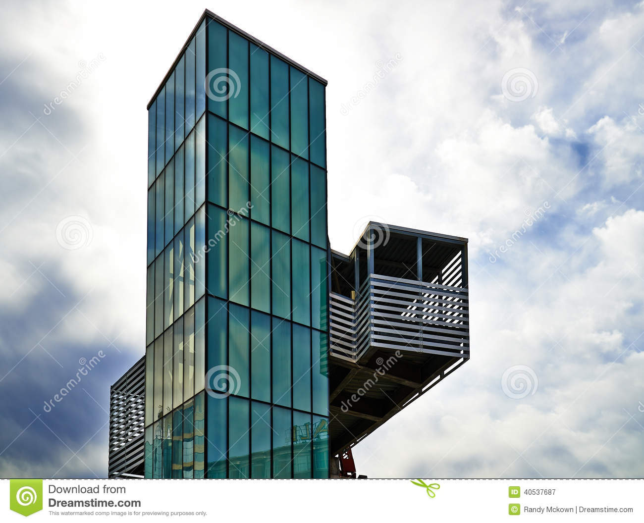 Modern Architecture Glass modern architecture - green glass elevator stock photo - image
