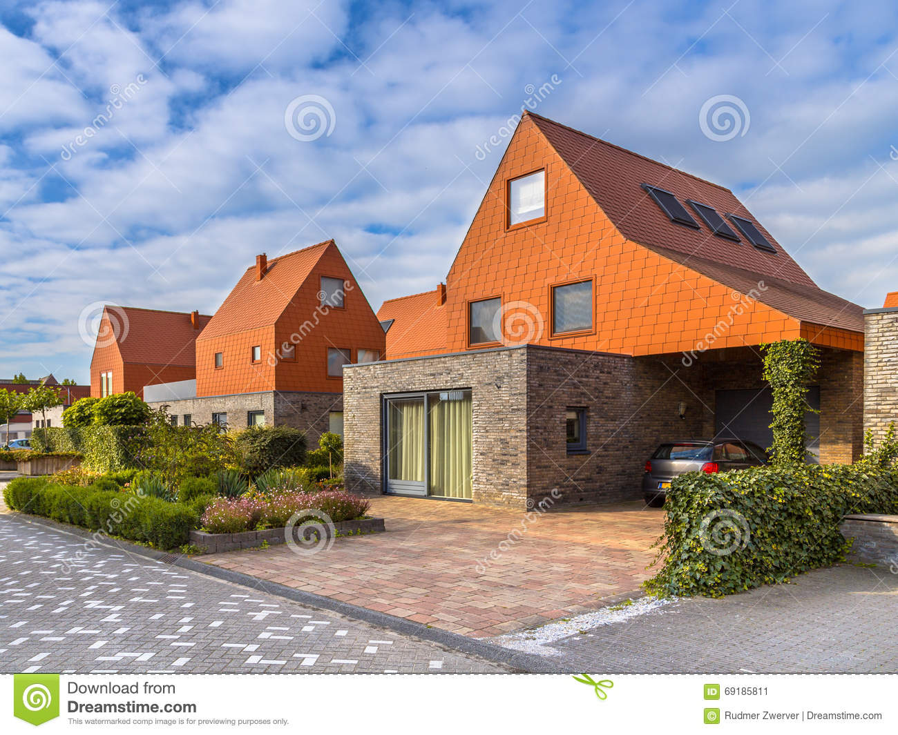 Modern architecture houses with red roof tiles stock image for Immagini case moderne esterni