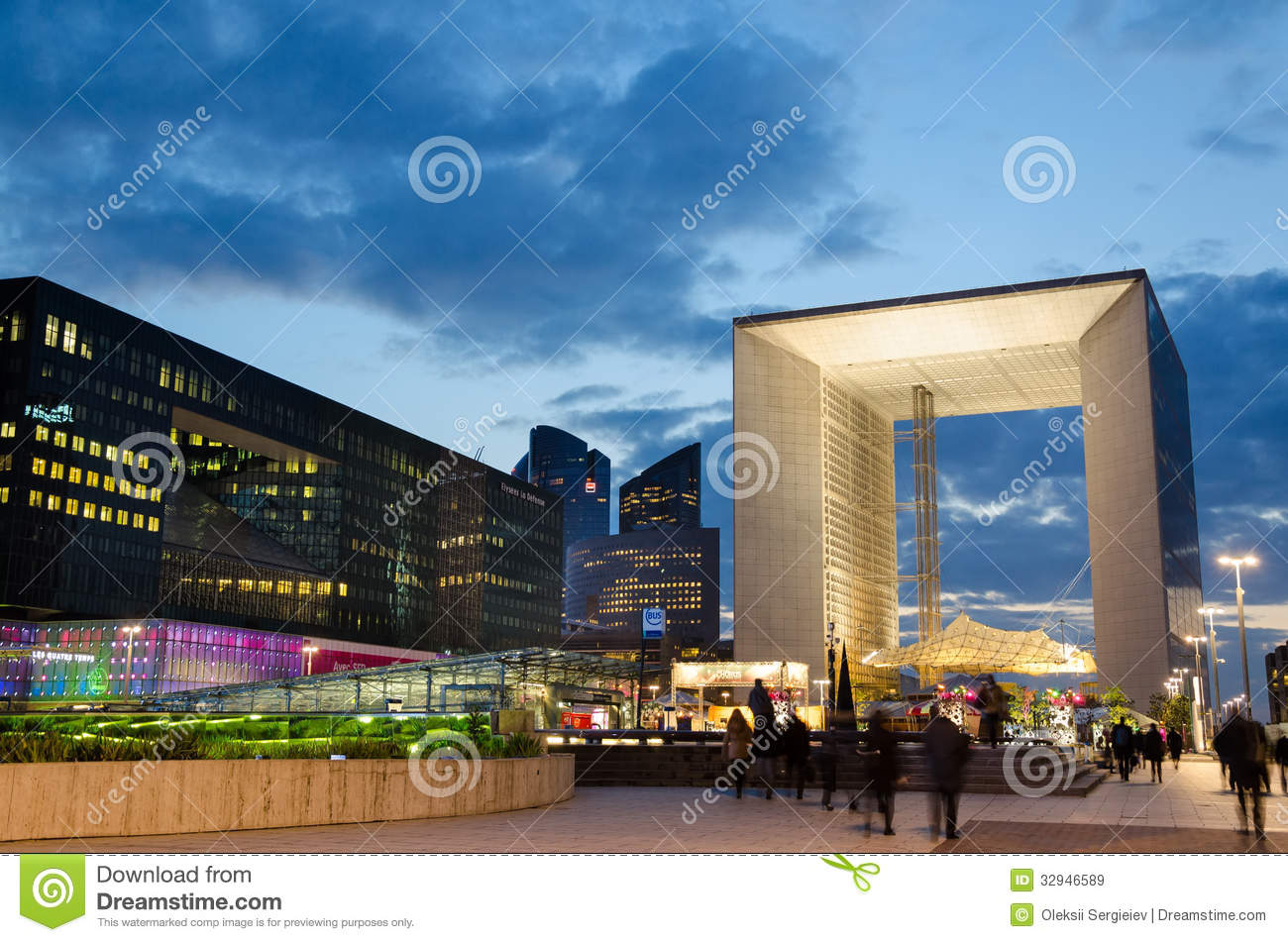 Modern Architecture France modern architecture in la défense late at night editorial